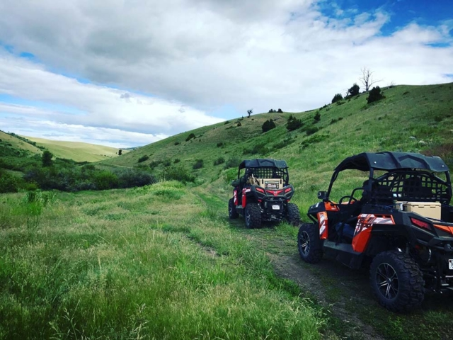 Side by Sides on a lush montana trail