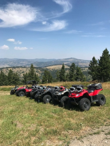 line of side by sides trail riding in montana